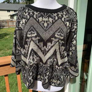 FREE PEOPLE SUPERSTAR CROPPED AZTEC SWEATER LARGE